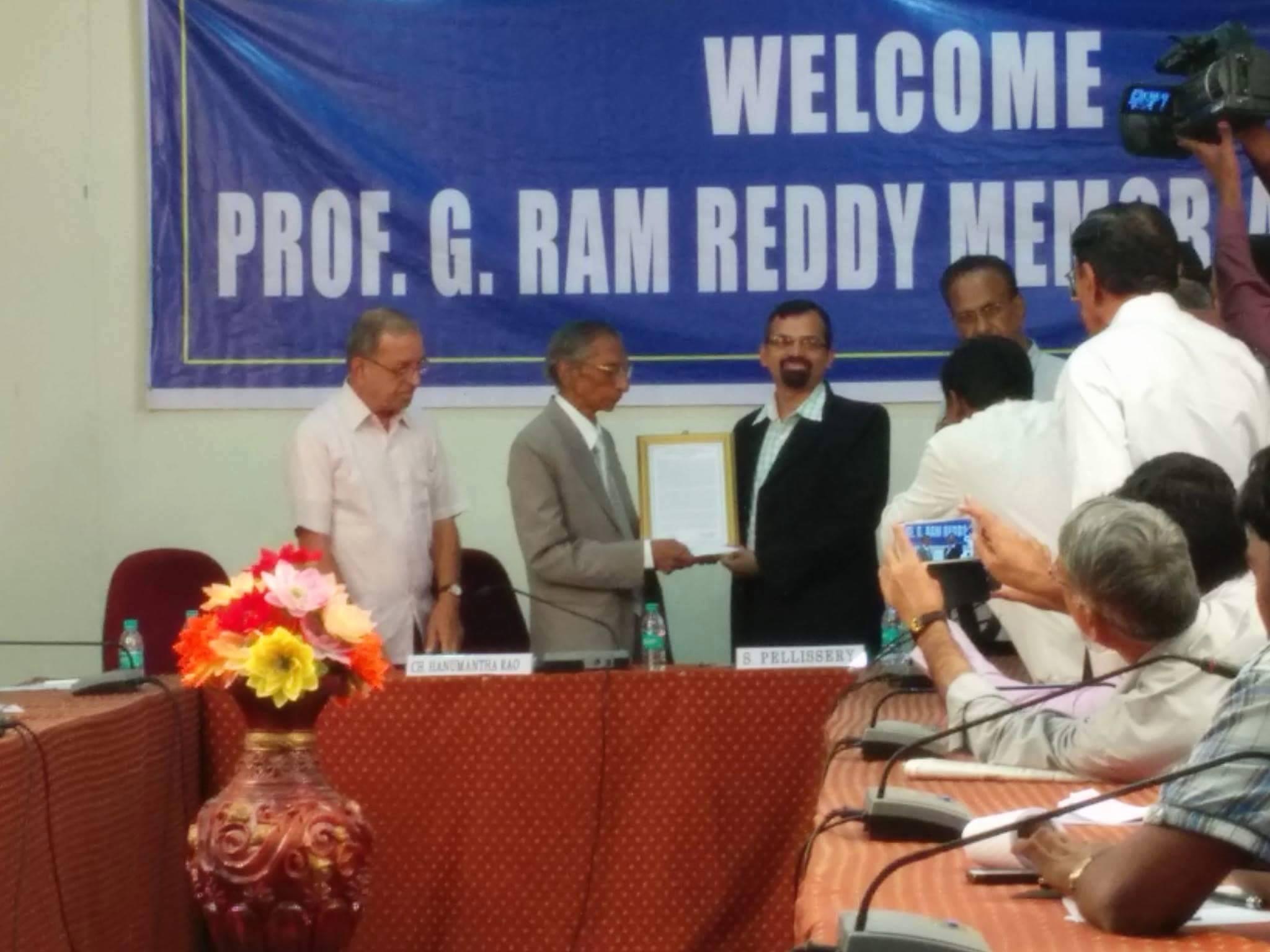 "Prof. Sony Pellissery on being awarded ""Prof. G. Ram Reddy Social Scientist Award"""